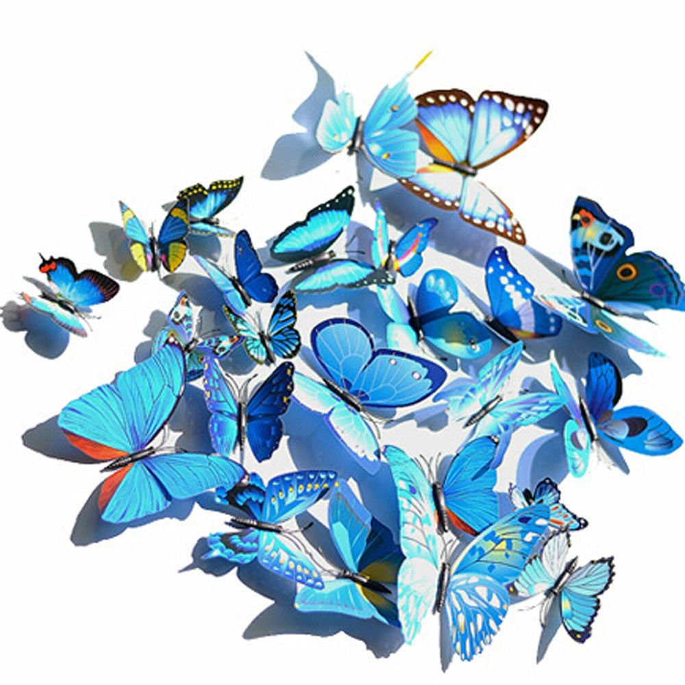 60pcs 5 Colours 3D Butterfly Magnet & Wall Stickers Fridge Home Room Party Decor 11