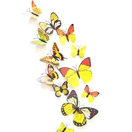 60pcs 5 Colours 3D Butterfly Magnet & Wall Stickers Fridge Home Room Party Decor 5