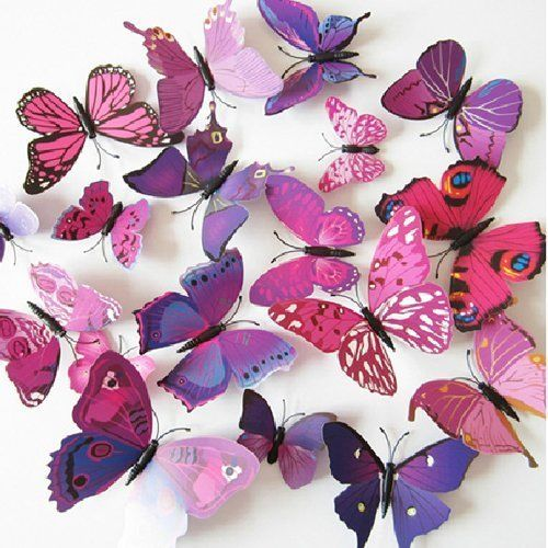 60pcs 5 Colours 3D Butterfly Magnet & Wall Stickers Fridge Home Room Party Decor 7