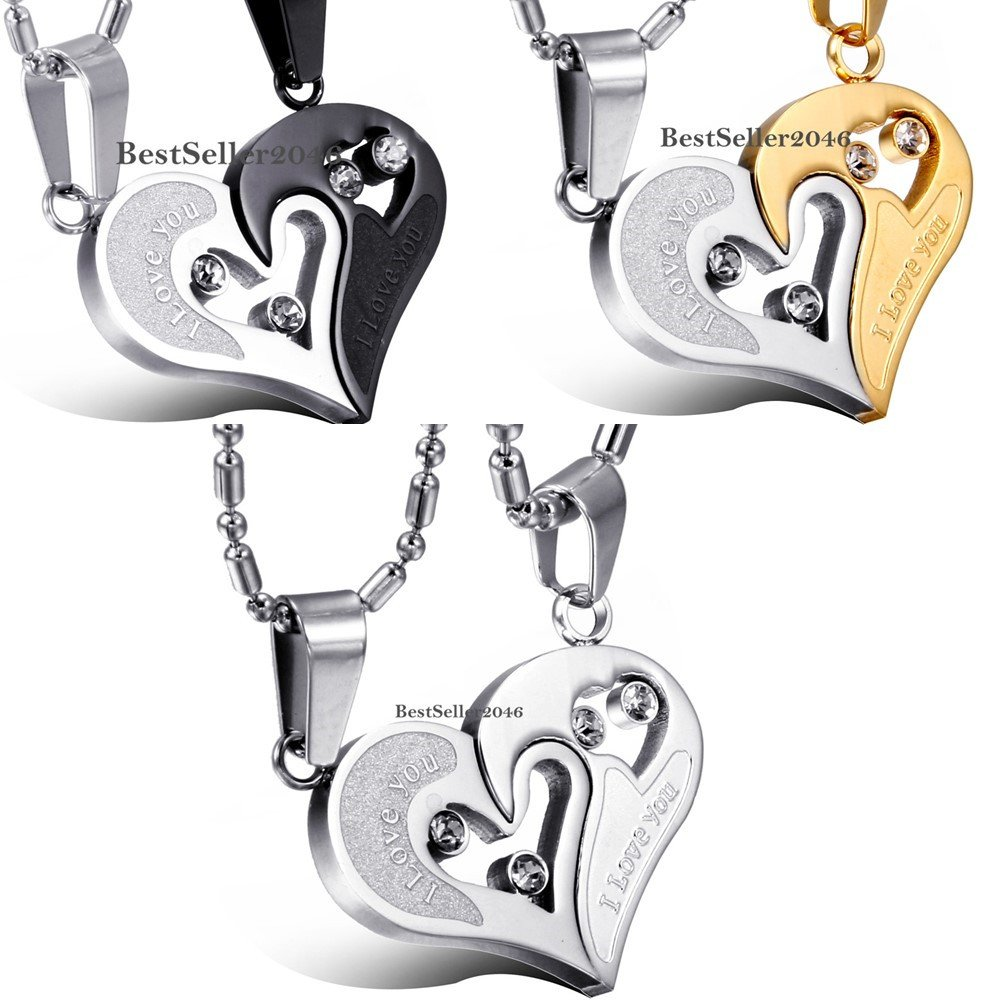 034-I-Love-You-034-Matching-Heart-Lovers-Couple-Pendant-Stainless-Steel-Necklace-Gift