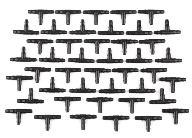 100 x Garden Irrigation Ploy Tee Pipe Barb Hose Fitting Joiner Drip System Black