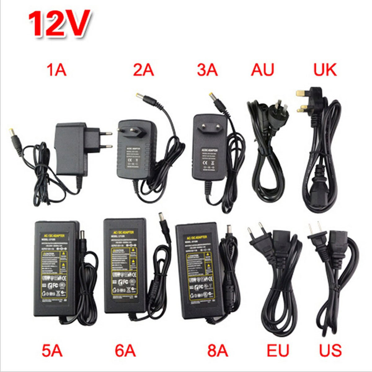 AC100-240V to DC 5V 12V 24V Power Supply Charger Transformer LED Strips Adapter