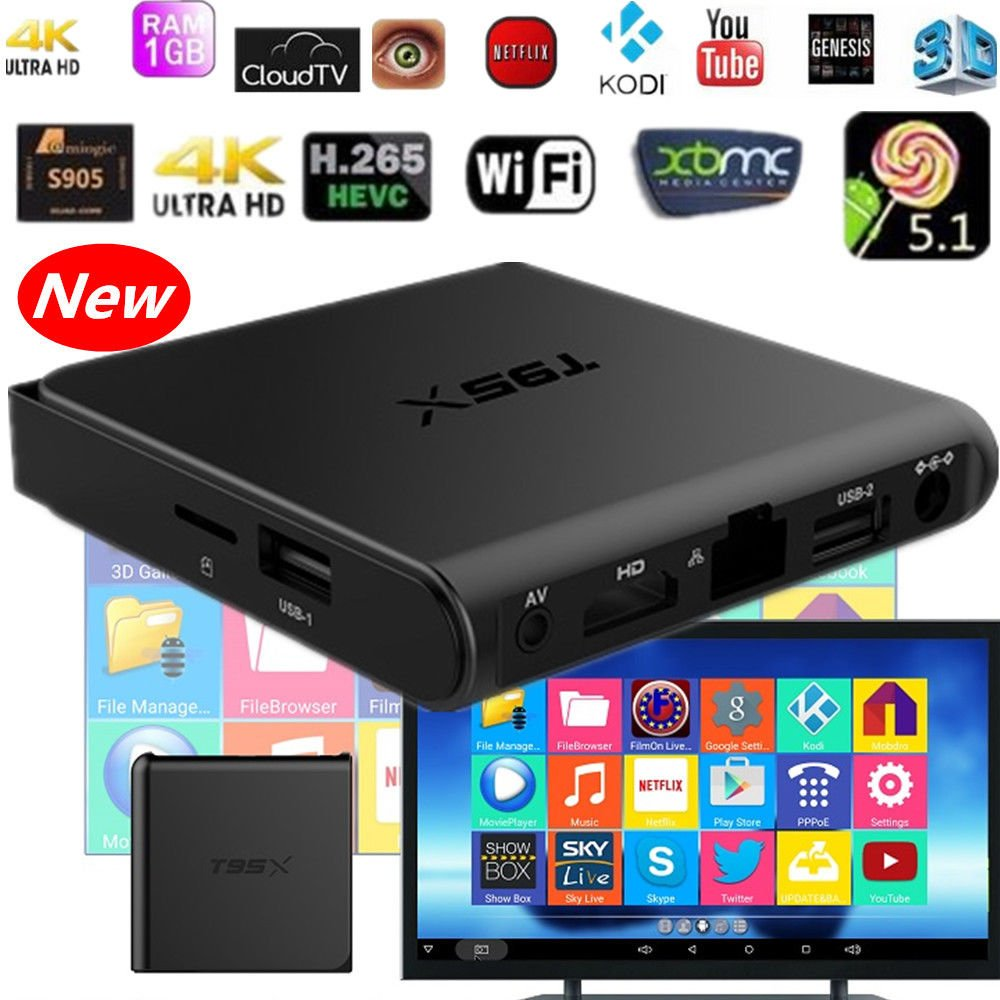 Fully Loaded 4K T95X S905X Quad Core Android 6.0 TV Box KODI XBMC Wifi 1G/8G