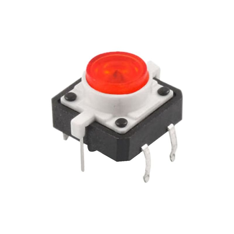 5 X Tactile Push Button Switch Momentary Tact LED 12X12 Round Cap red Y9N8 2