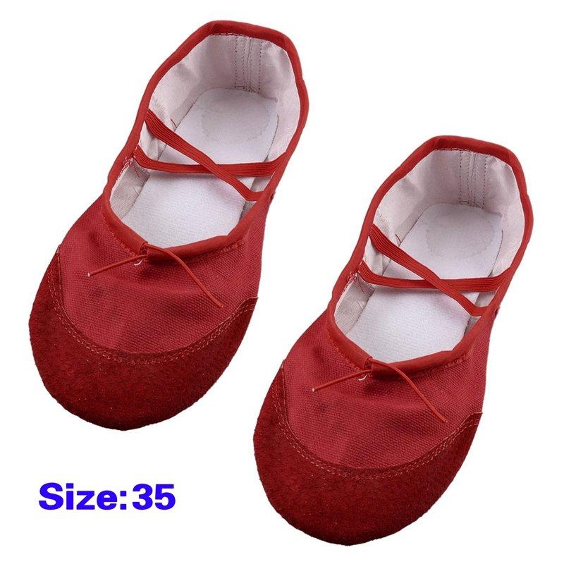 3X(EU 35 rouge bande elastique ballet ballerine chaussures danse de danse chaussures plates X9B9 8da82d