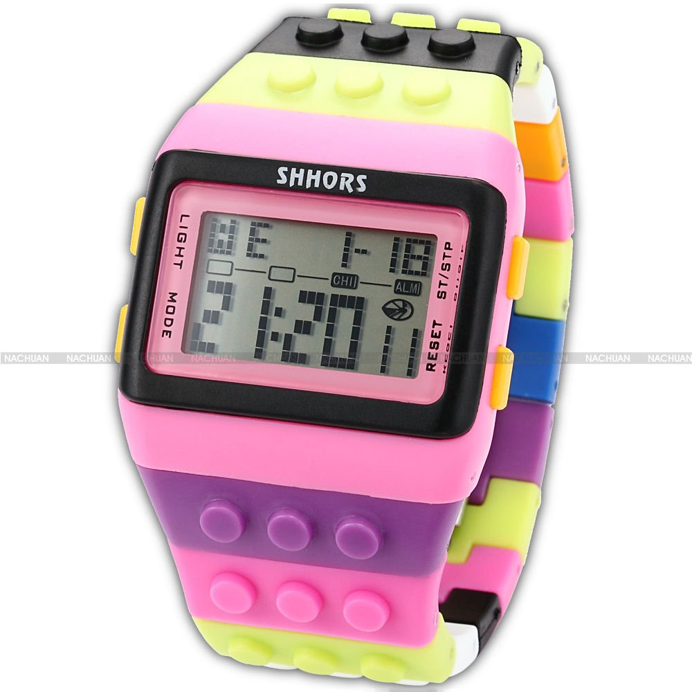 SHHORS-Candy-Rubber-LED-Digital-Stopwatch-Waterproof-Mens-Lady-Child-Sport-Watch