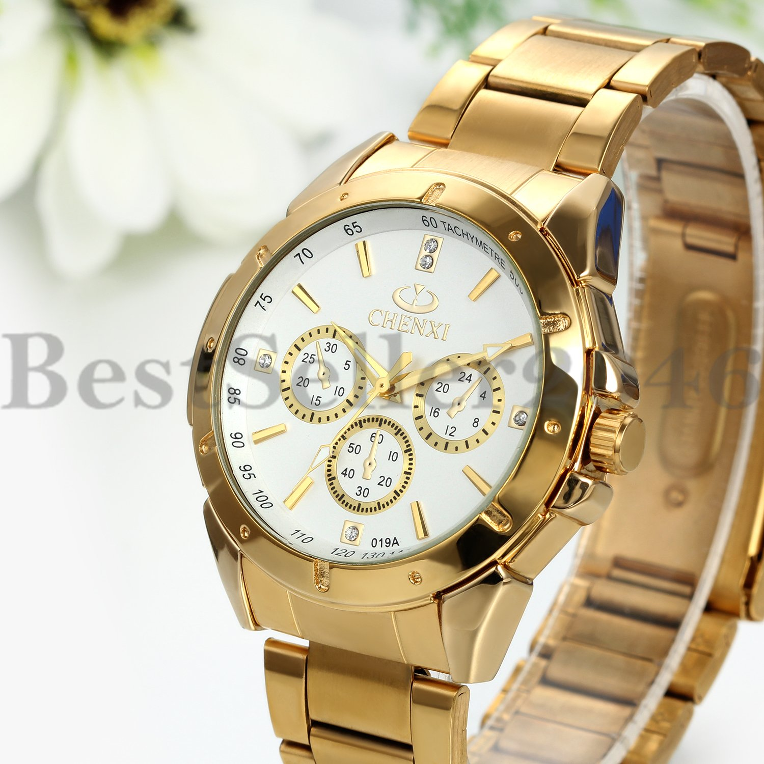 Men's Fashion Luxury Watch Stainless Steel Band Sport Analog Quartz Wristwatches