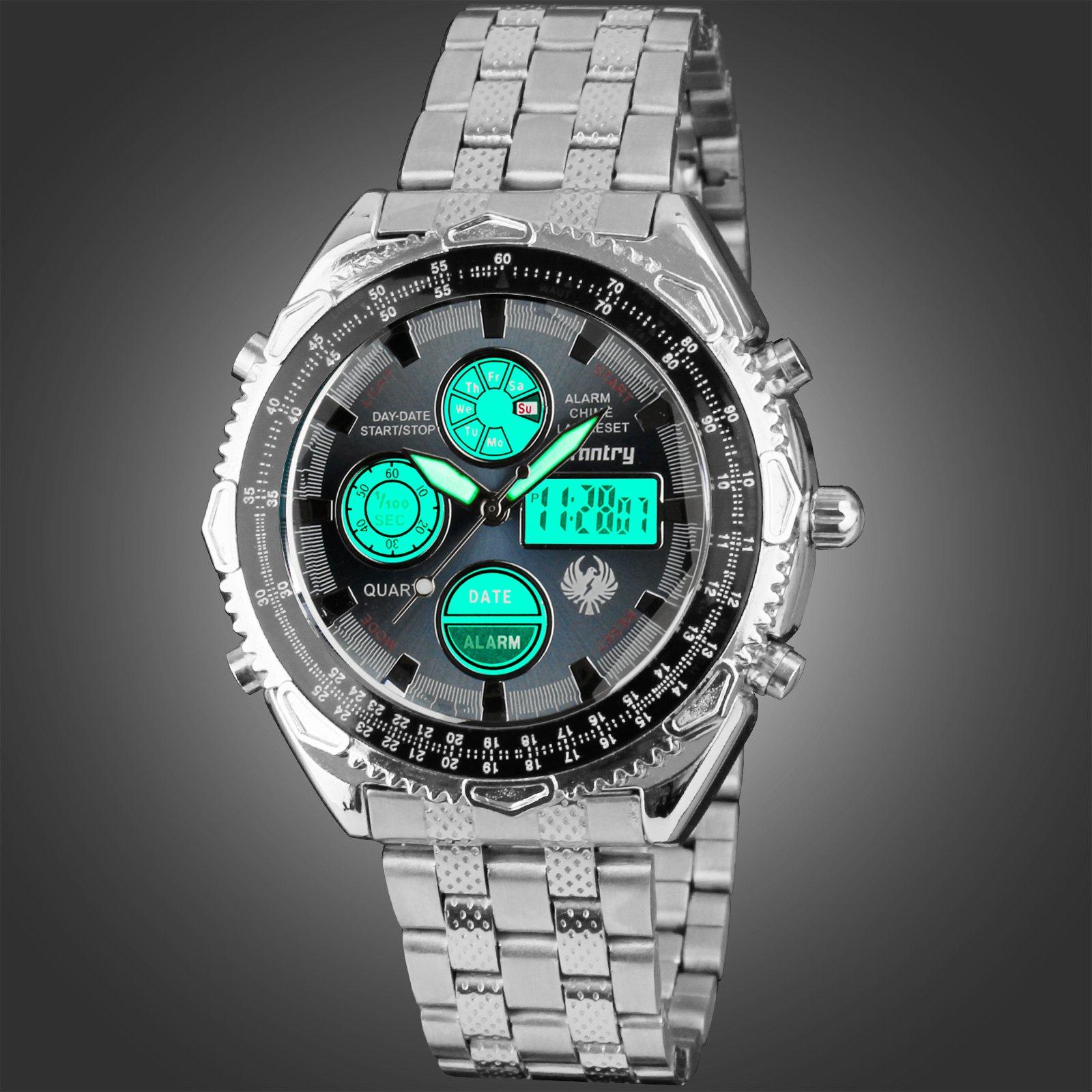 INFANTRY-MEN-039-S-LED-DIGITAL-ANALOG-WRIST-WATCH-Luminous-Stainless-Steel-Bracelet thumbnail 18