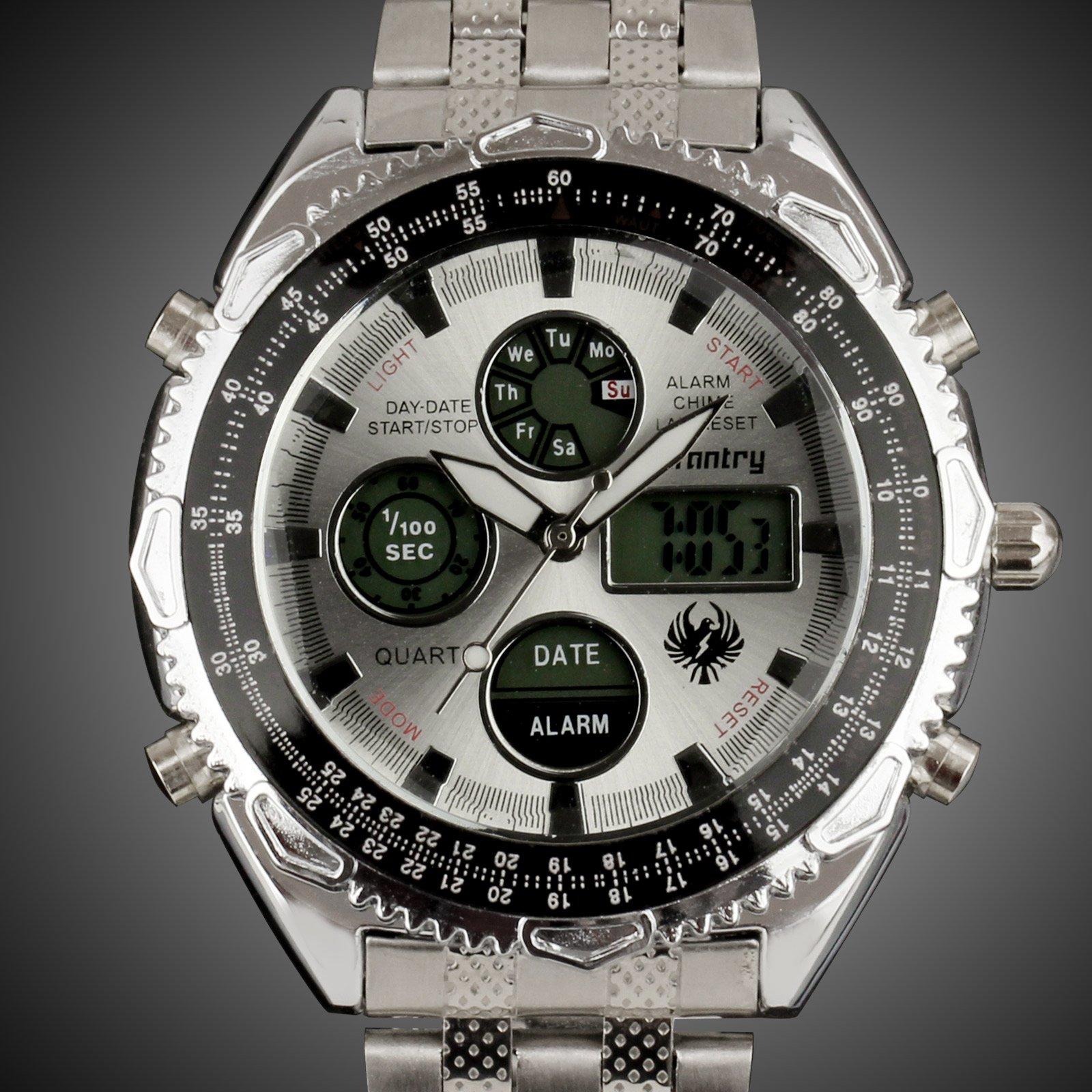 INFANTRY-MEN-039-S-LED-DIGITAL-ANALOG-WRIST-WATCH-Luminous-Stainless-Steel-Bracelet thumbnail 15