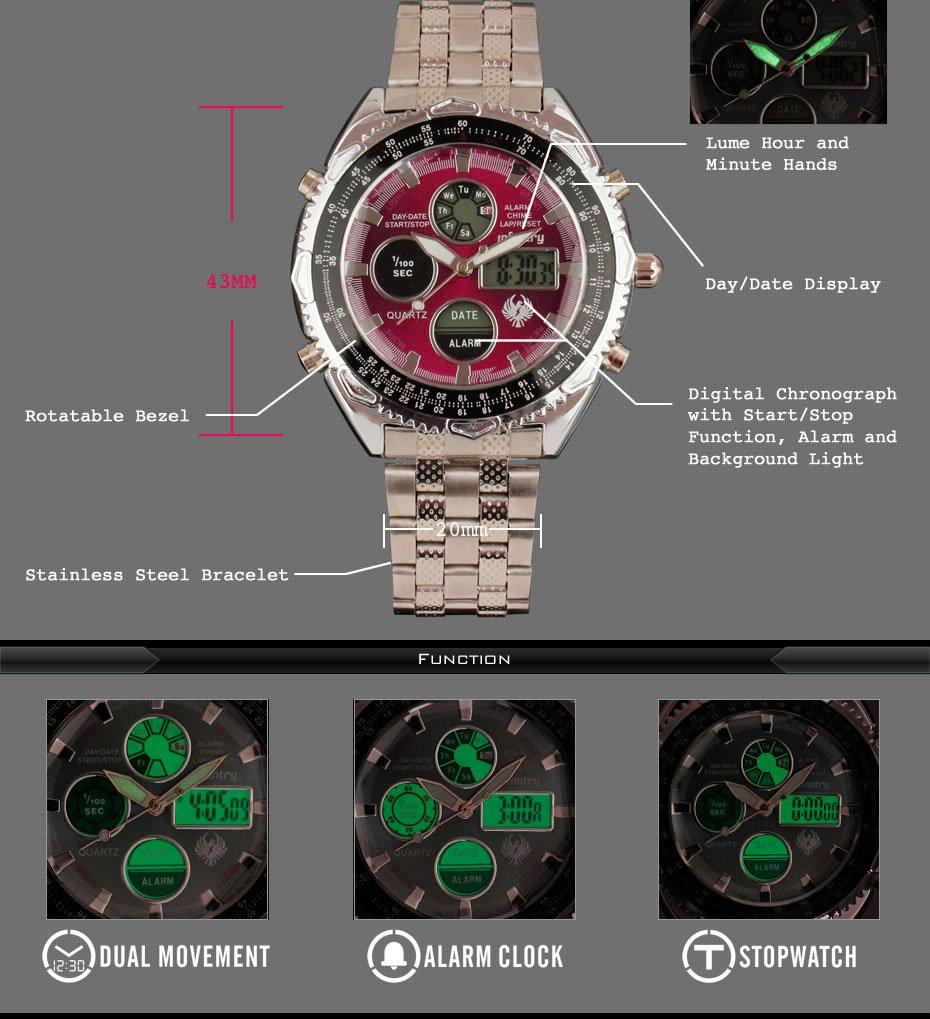 INFANTRY-MEN-039-S-LED-DIGITAL-ANALOG-WRIST-WATCH-Luminous-Stainless-Steel-Bracelet thumbnail 12