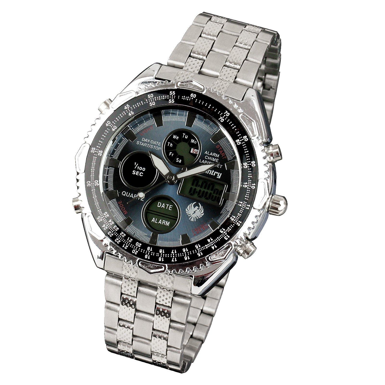 INFANTRY-MEN-039-S-LED-DIGITAL-ANALOG-WRIST-WATCH-Luminous-Stainless-Steel-Bracelet thumbnail 20