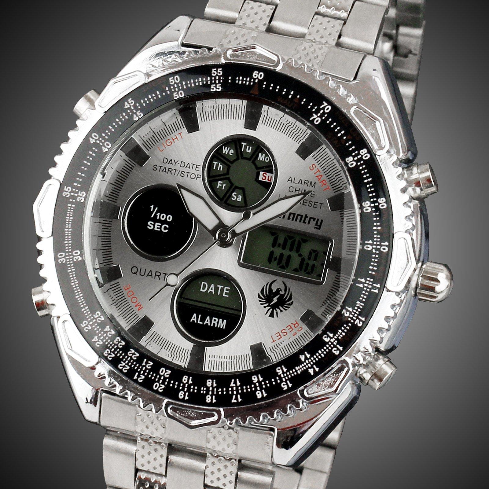 INFANTRY-MEN-039-S-LED-DIGITAL-ANALOG-WRIST-WATCH-Luminous-Stainless-Steel-Bracelet thumbnail 16