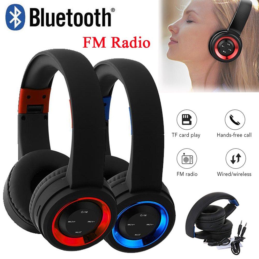 Wireless Bluetooth Headphones Over Ear Stereo Super Bass Earphone Headset Mic FM