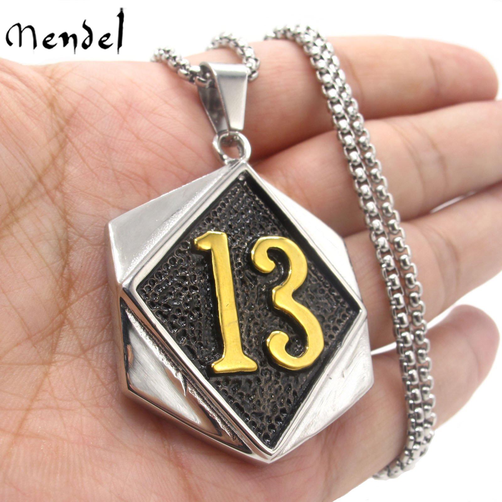 MENDEL Mens Gold Motorcycle Biker Number 13 Pendant Necklace Stainless Steel Men