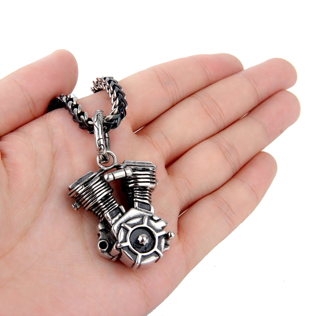 MENDEL Mens Motorcycle Engine Necklace Biker Pendant Heavy Stainless Steel Punk