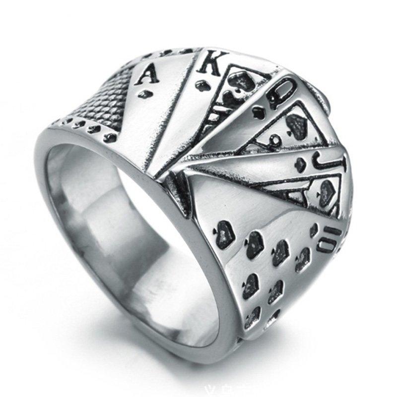 MENDEL Mens Biker Casino Lucky Poker Ring Jewelry Men Stainless Steel Size 7-15