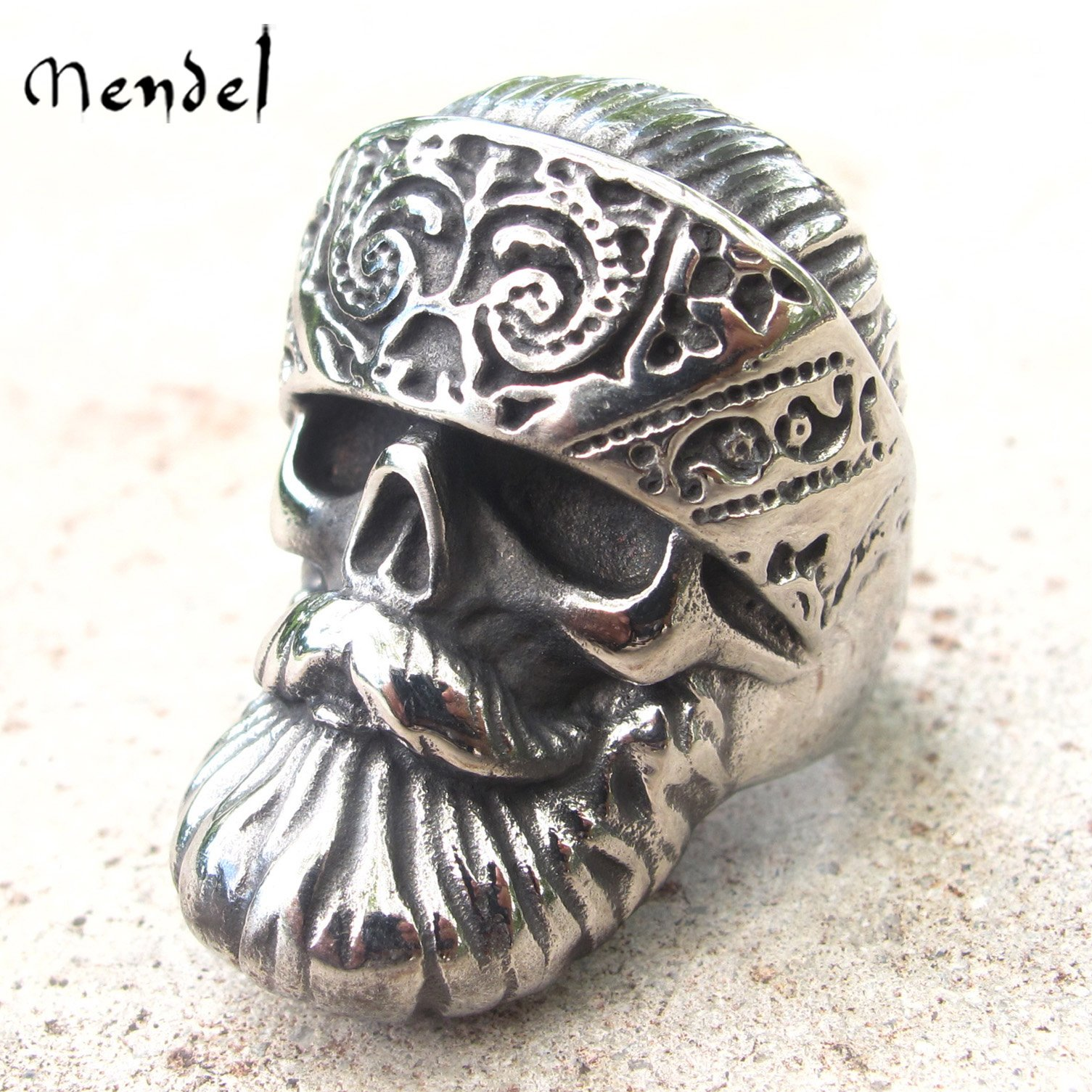 MENDEL Mens Motorcycle Club Rings Biker Punk Skull Ring For Men Stainless Steel