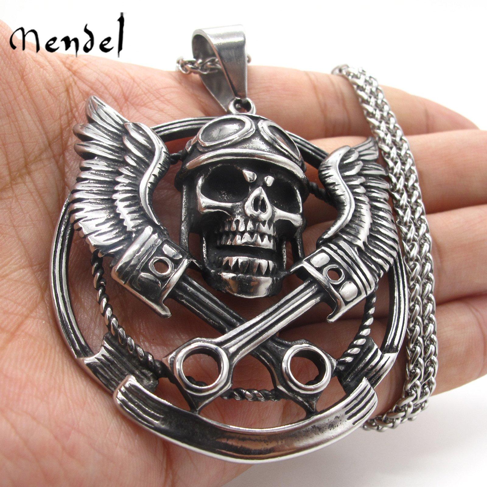 MENDEL Mens 30 Inch Motorcycle Club Biker Skull Pendant Necklace Stainless Steel