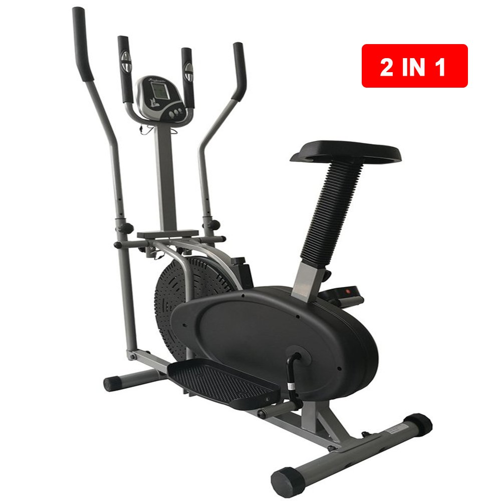 2 in 1 Elliptical Bike Cross Trainer Exerciser Fitness Workout Gym Machine BA
