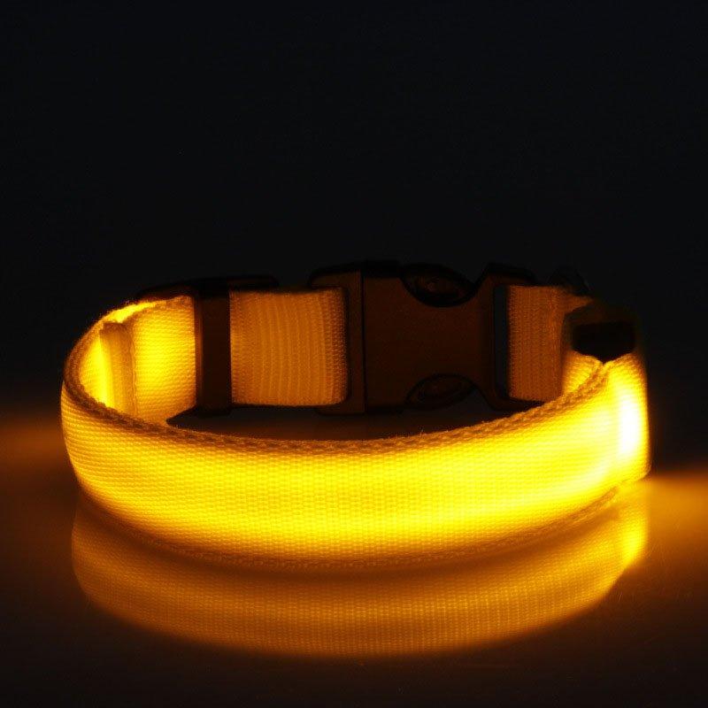 USB Rechargeable LED Dog Collar Nylon Glow Flashing Light Up Safety Pet Collars