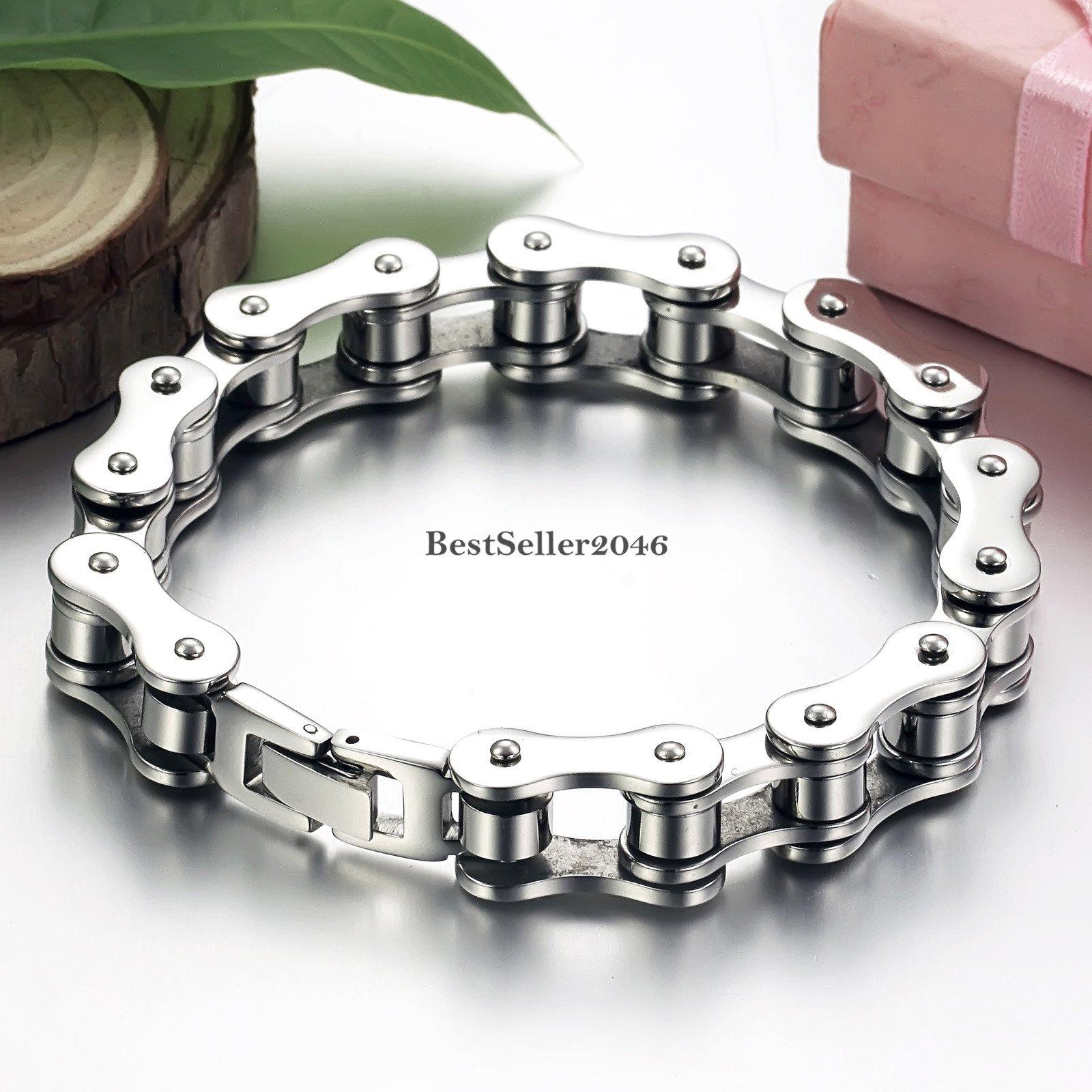 Motorcycle Biker Chain Bracelet Men's Heavy Silver Stainless Steel 8 Inch Bangle