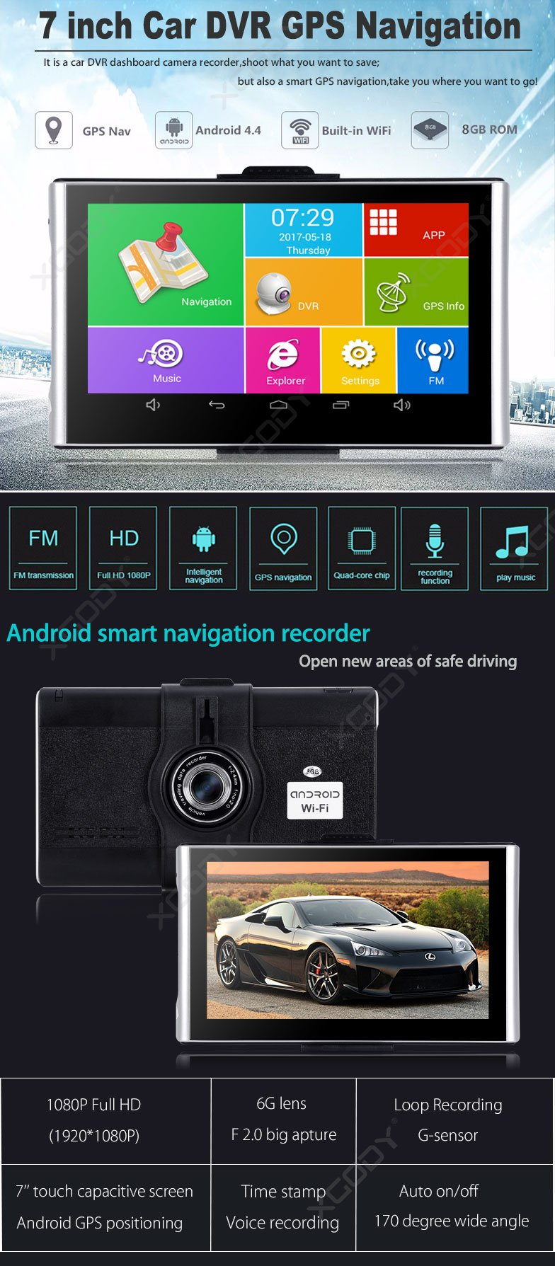 7 inch screen navigation dvr