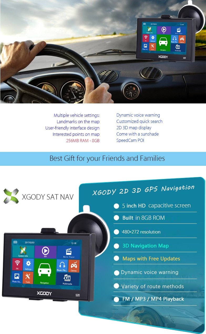 XGODY 520F 5'' GPS Sat Navigation2D 3D Map w/ Sunshade
