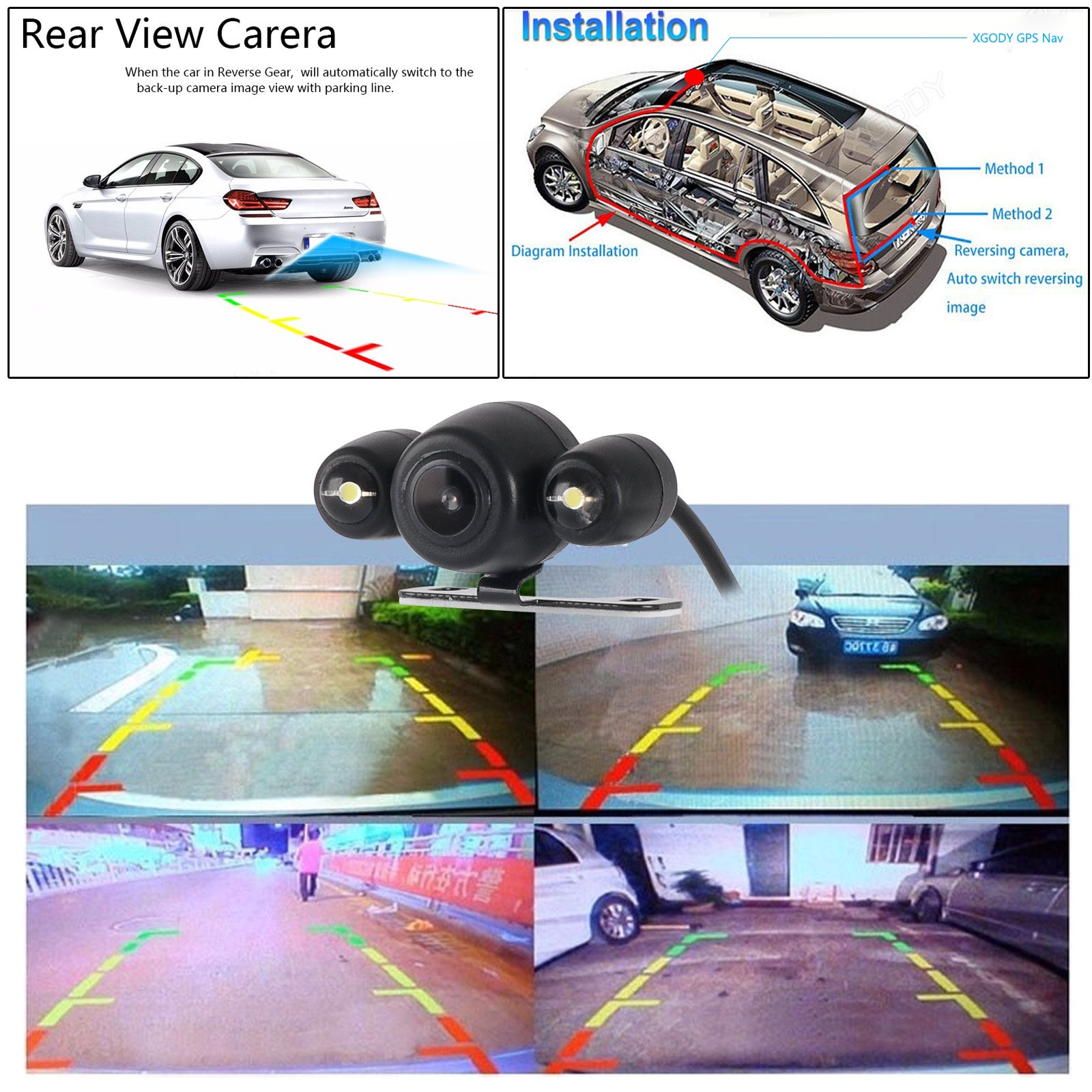 XGody 886 Capacitive Touch Rear Camera Car Navigator