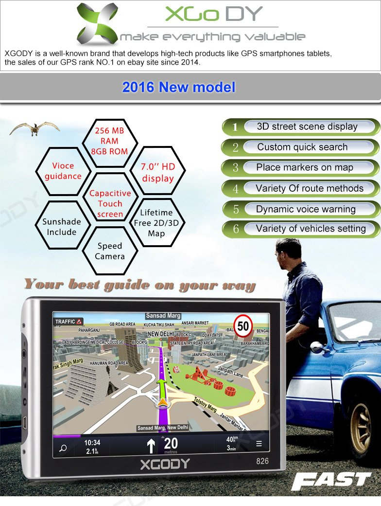 XGody 826 Capacitive Touch High Accuracy Car Navigator