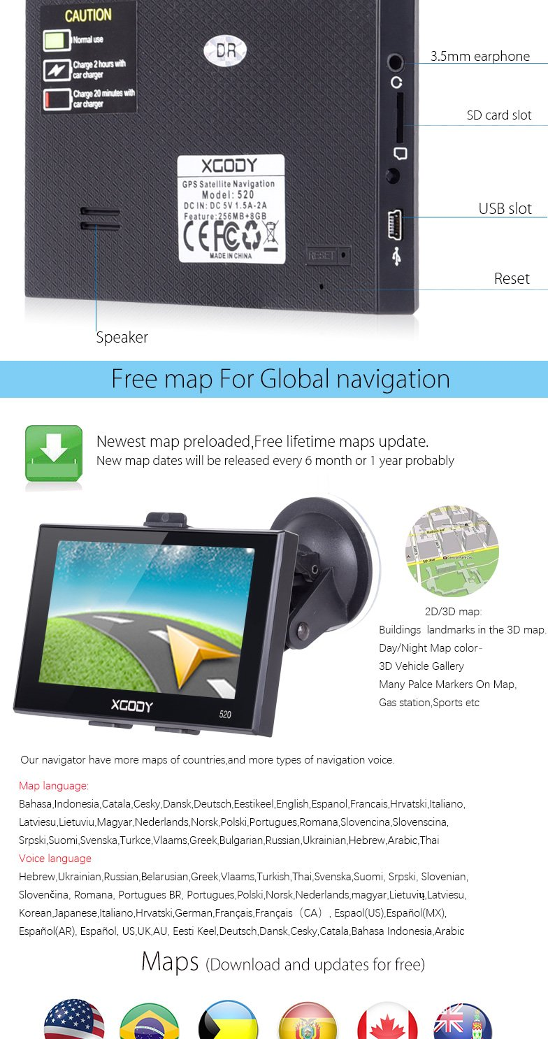 XGody 520 Large Screen Touch Control Car Navigation