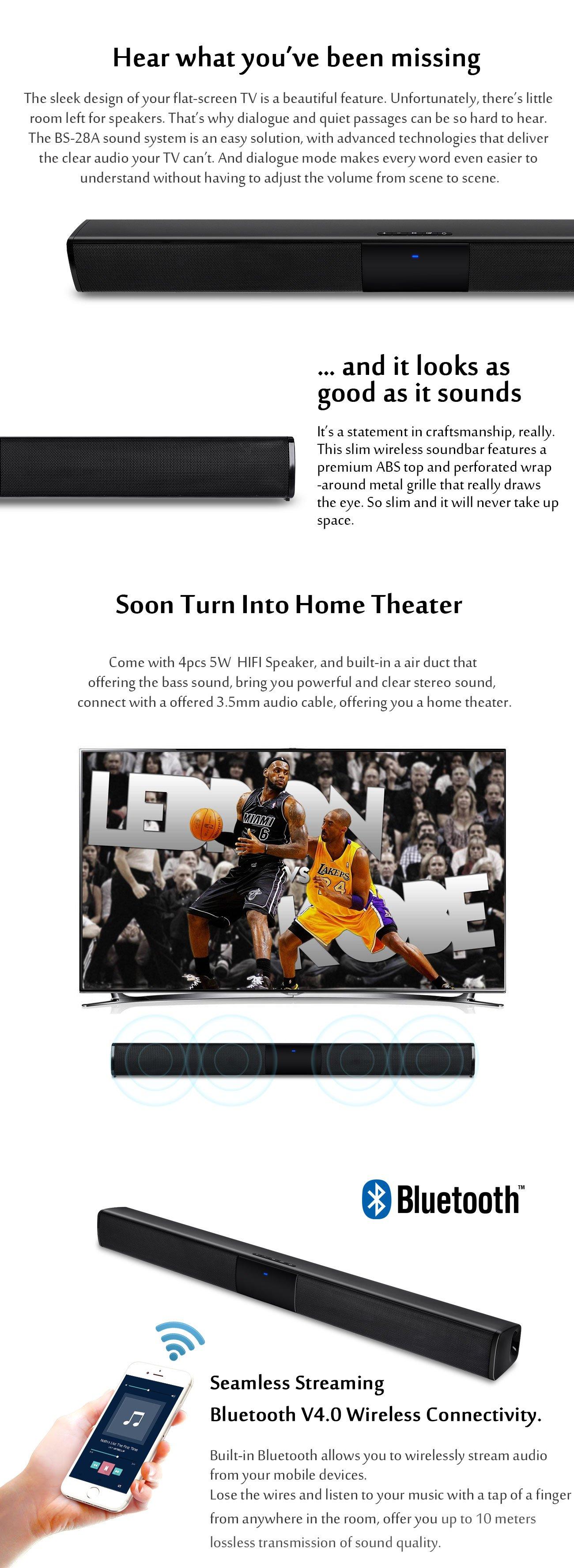 XGODY TV Home Theater Soundbar Wireless 3D Sound Bar Speaker System Stereo HIFI