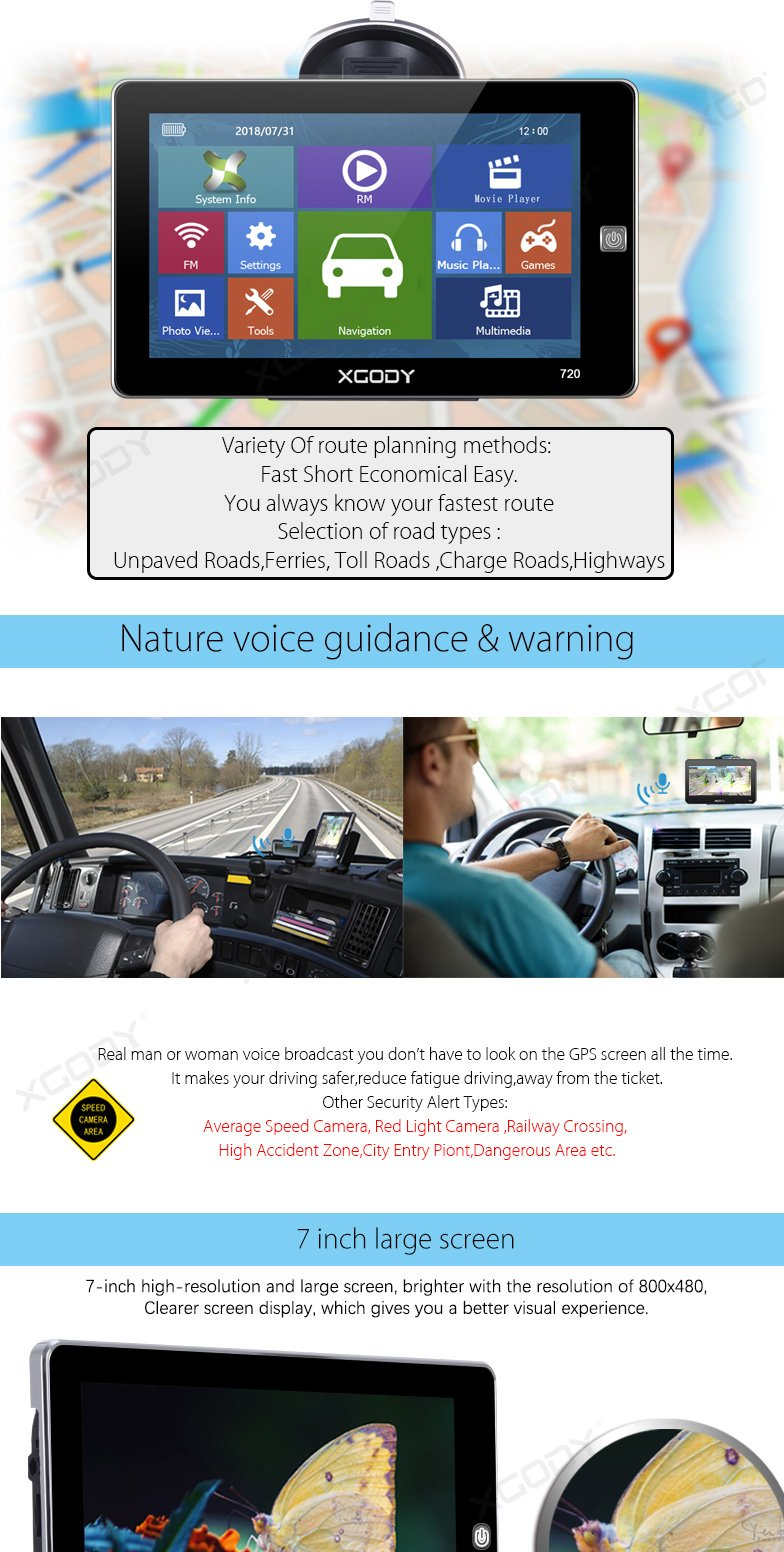XGODY 720F 7'' Truck Car GPS SAT NAV Built-in MP3