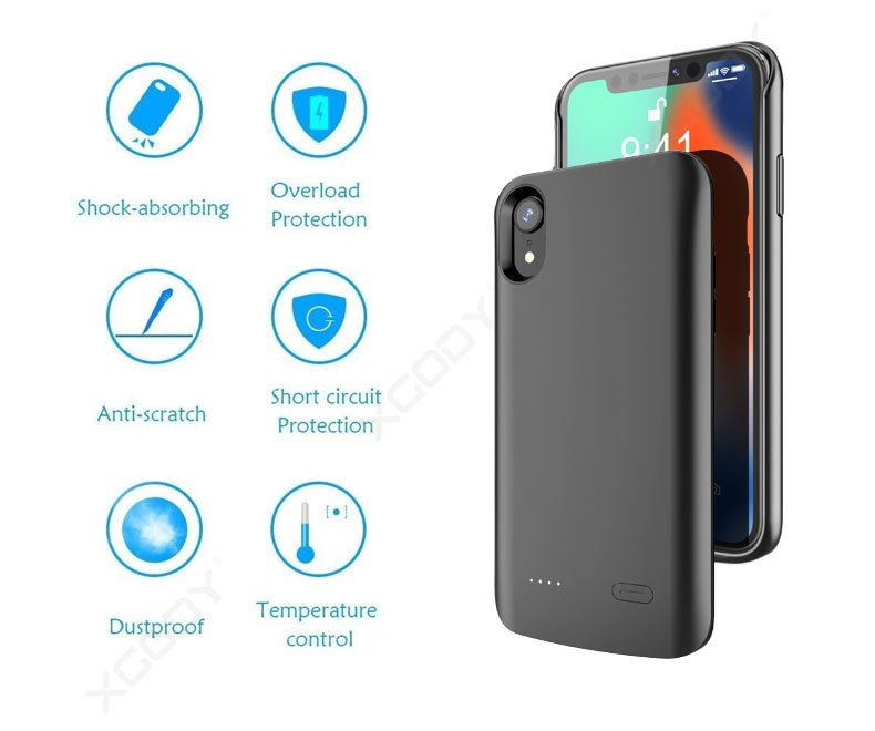 6000mAh Battery Charging Case Cover Power Bank iPhone XR Xs Max