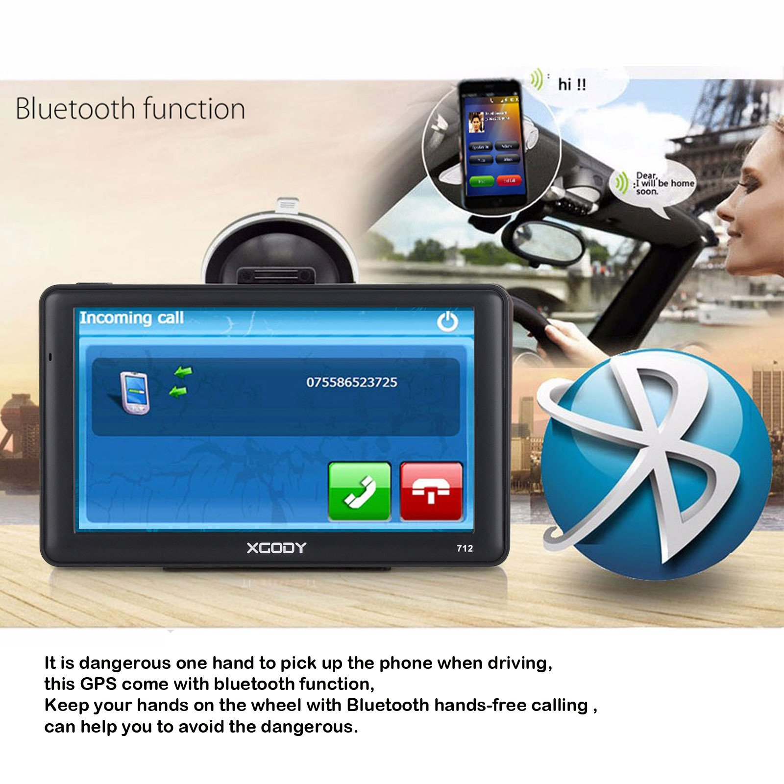 "XGODY 7"" 8GB SAT NAV AV IN Bluetooth 256MB RAM GPS FM 712"