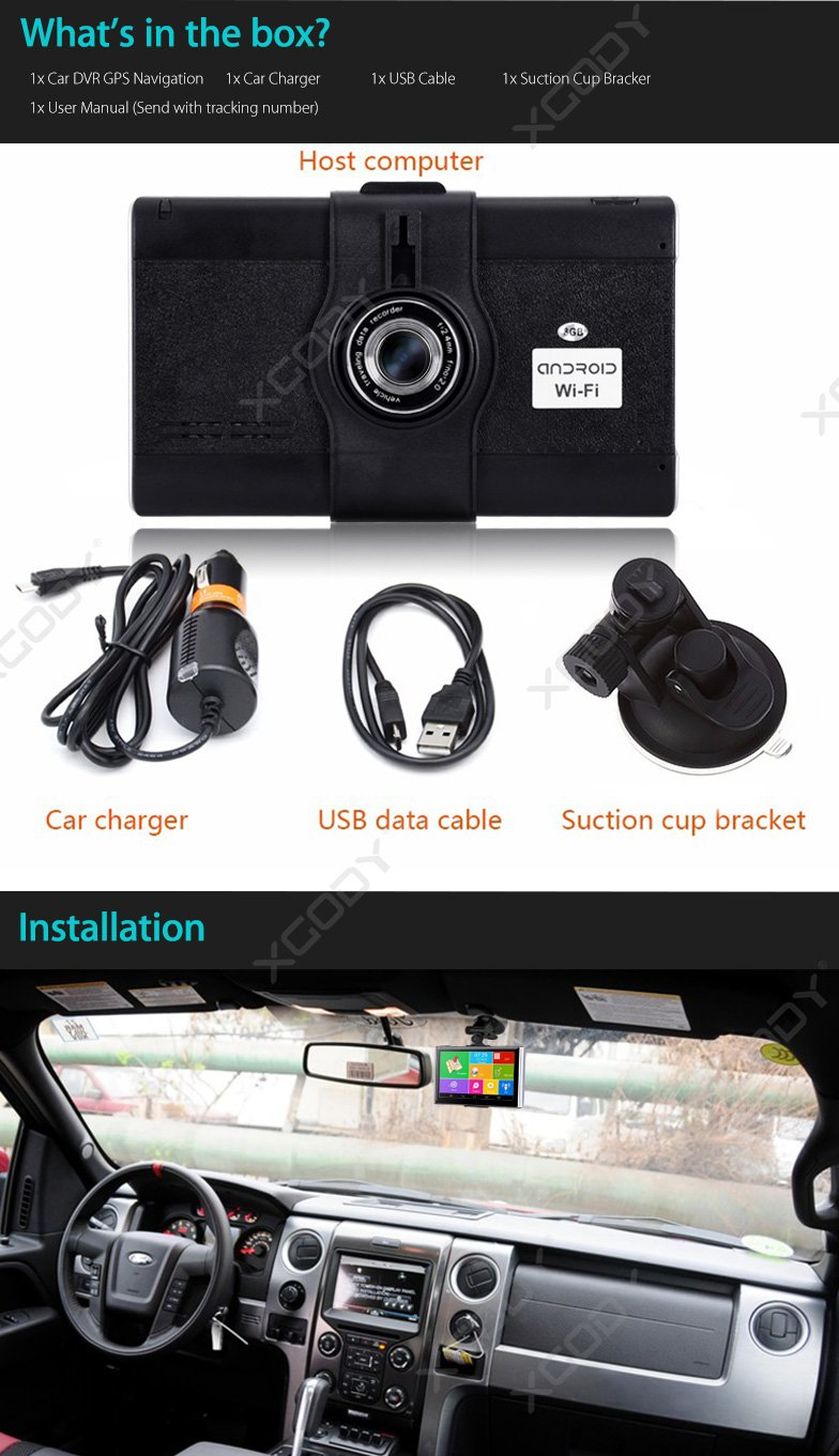 "XGODY 826 Plus FHD1080P 7"" Vehicle Car DVR Video GPS"