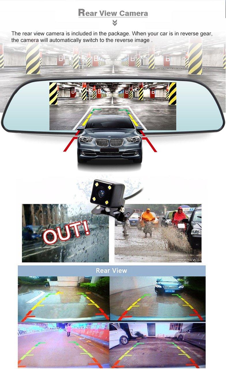 "XGODY 683 7"" Car DVR 1080P Rearview Mirror Camera GPS"