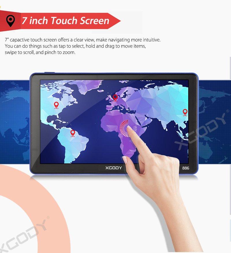 XGody 886 Touch Screen Bluetooth GPS Navigation