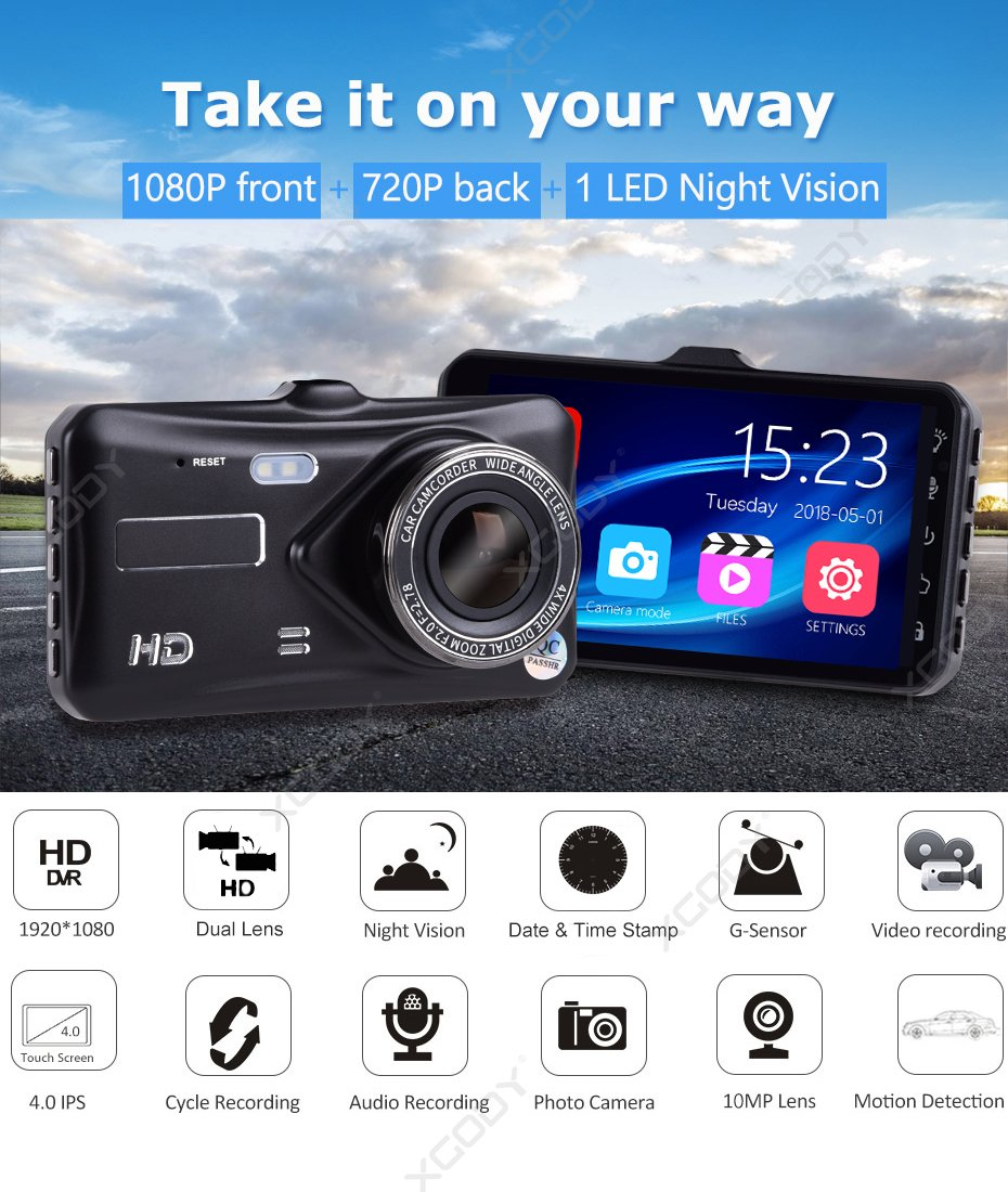HD DVR With Dual Lens and Night Vision IPS Screen