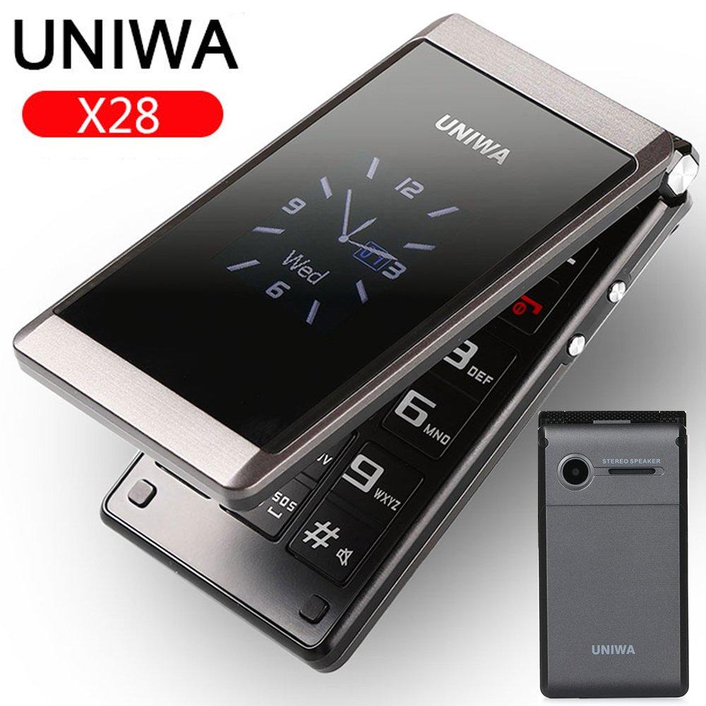 Unlocked UNIWA 2.8″ Folding Flip Dual Sim Free Basic Simple Mobile Phone FM SOS