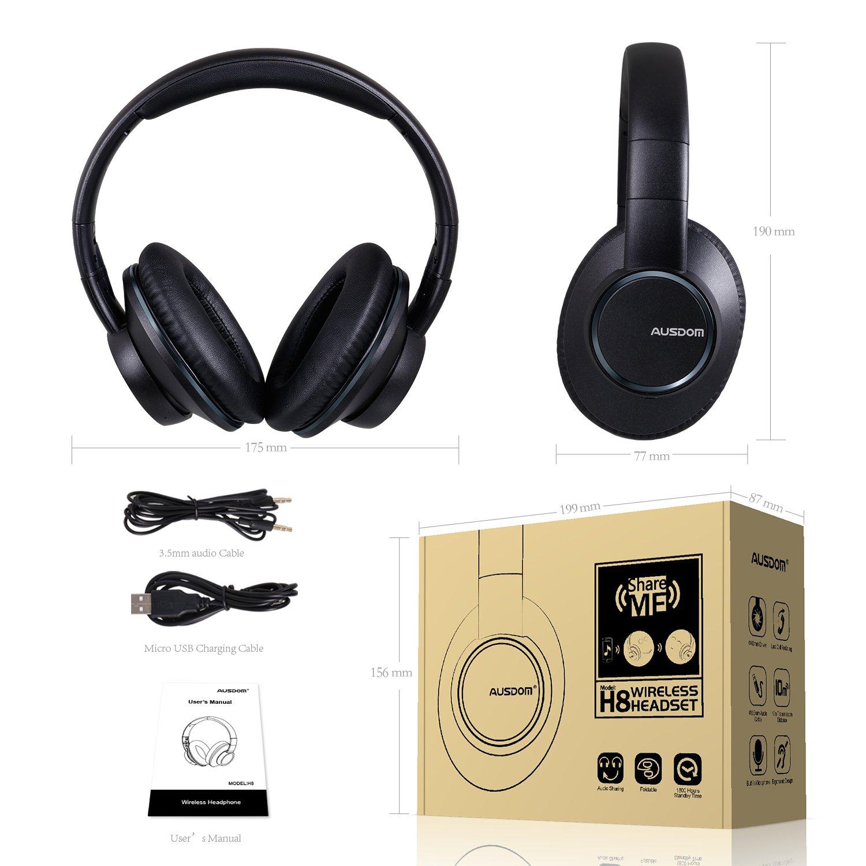 AUSDOM-Wireless-Headphones-Bluetooth-Stereo-Earphones-Super-Bass-On-Ear-Headset thumbnail 4
