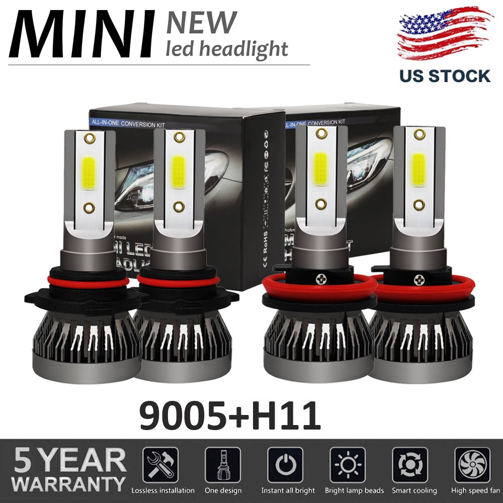 Mini 9005 H11 LED Headlight Hi/lo Beam Bulbs for Chevy Silve