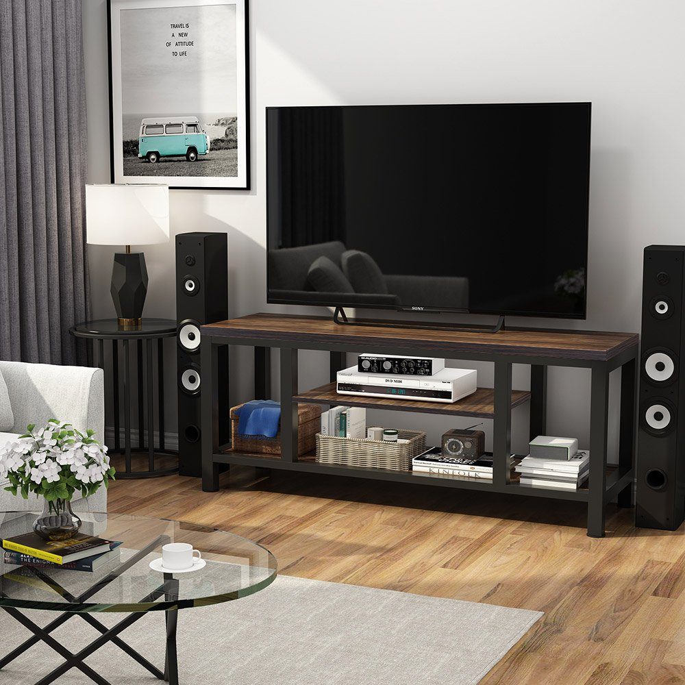 Large Vintage Brown 3-Tier TV Stand Industrial Rustic Media