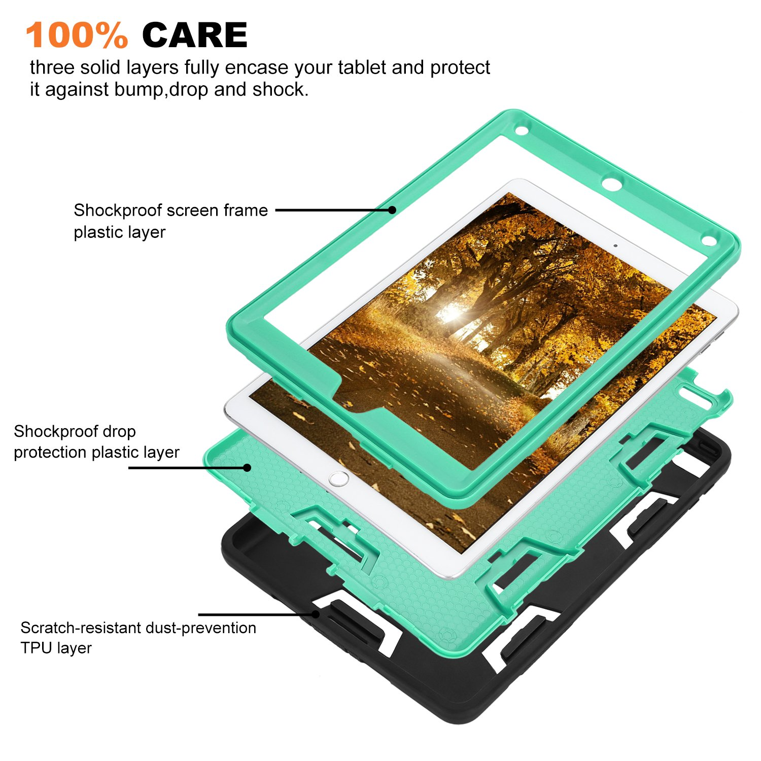Rugged 3-Layer Heavy Duty Shock Proof iPad 234 Mini Pro Air Case Shell Cover 33