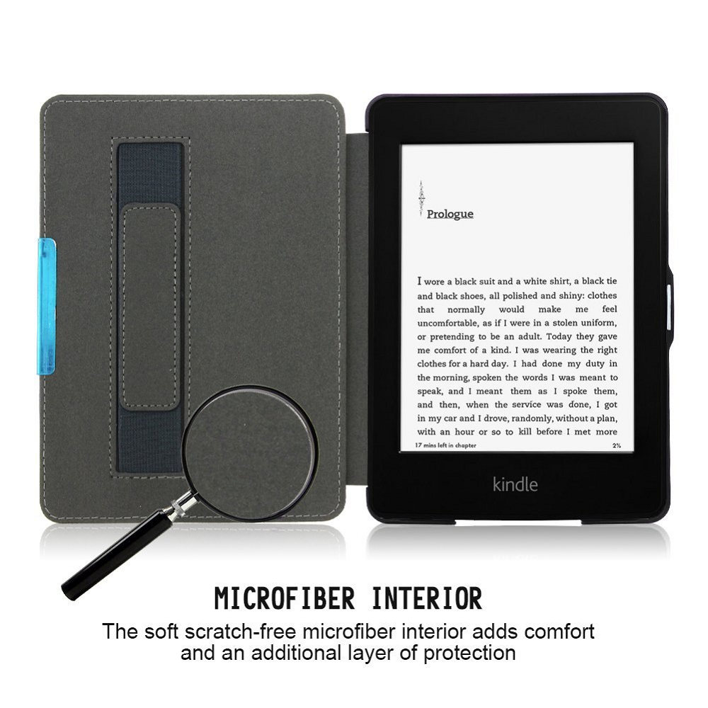 For Amazon Kindle Paperwhite 1 2 3 Black Leather Hand